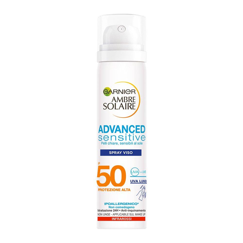 Garnier Ambre Solaire Crema Solare Viso in Spray Advanced Sensitive, Protezione Solare Alta IP50, 75 ml C5653900