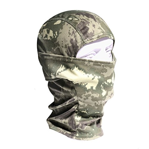 Review Camouflage Balaclava Face mask Hood Headwear hunting Ninja Outdoor Cycling Motorcycle Hunting Military Tactical Helmet liner Gear Full Face Mask (Black Camo) (Woodland)