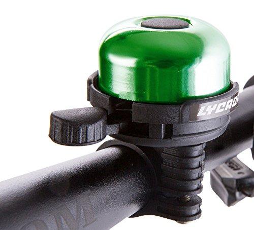 LYCAON Bell 8 Colors Mini Aluminum Alloy Bike Ring Loud Crisp Clear Sound Horn Bike Accessories for Scooter, Cruiser Ebike, Tricycle, Mountain Road Bike, MTB BMX Electric Bike, Green ()