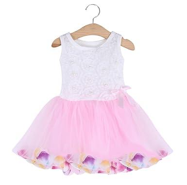b27235ffad Bold N Elegant Cute Tutu Princess Dress Frock Sleeveless Princess Pageant  Lace Bow Flower Tulle Dress for Baby Girls