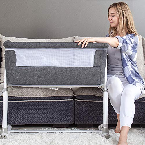 51r0K9hB0WL - Baby Bassinet,RONBEI Bedside Sleeper,Baby Bed To Bed,Babies Crib Bed, Adjustable Portable Bed For Infant/Baby Boy/Baby Girl/Newborn (Dark Grey)
