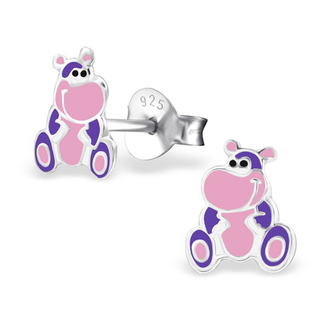 Cute Hippopotamus Studs Earrings Sterling Silver 925 Girls Colorful (E26822) (26822)