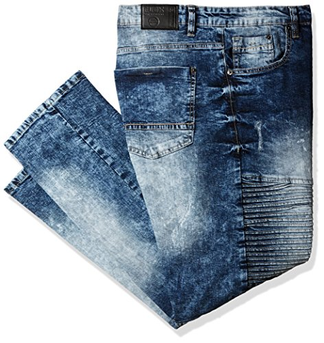 Southpole Men's Big and Tall BT Basic Flex Slim Straight Stretch Fit Washed Denim Pants, Medium Sand Blue/Mojito, 44 (Tall Clothing Slim)