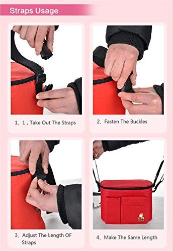 Bolsa para carrito de bebé, 3en1, organizador de pañales, cambiador portátil, bolsa térmica, incluye 6bolsillos, ajuste universal verde verde rosso