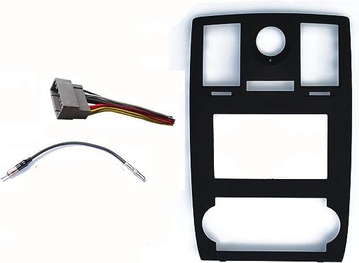 Adaptador de radio estéreo para coche con doble DIN, bisel negro, arnés y antena ajustable para Chrysler 300 2005 2006 2007