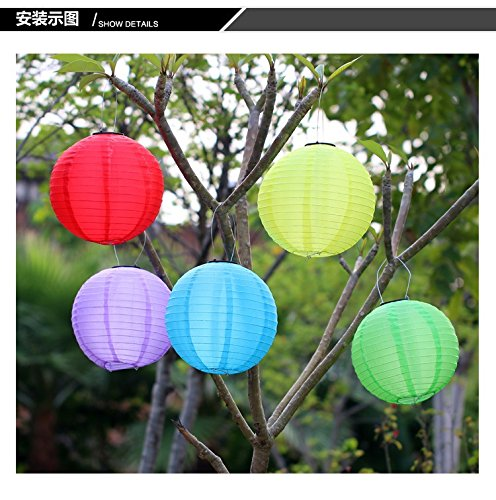 2PCS/set 30cm Hanging Oriental waterproof for Wedding Party home garden Decoration ,Solar Powered 1W LED Light Bulbs Chinese Nylon Fabric lantern and AA Battery (Blue) by Zhongpai (Image #9)