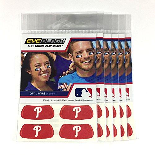 (24 Strips) Eye Black - Philadelphia Phillies Red MLB Eye Black Anti Glare Strips, Great for Fans & Athletes on Game Day