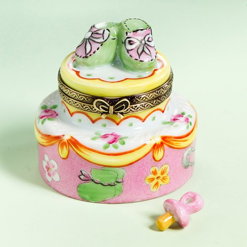 (Authentic French Hand Painted Limoges Porcelain Baby Girl Birthday Box with Shoes and Loose Porcelain)