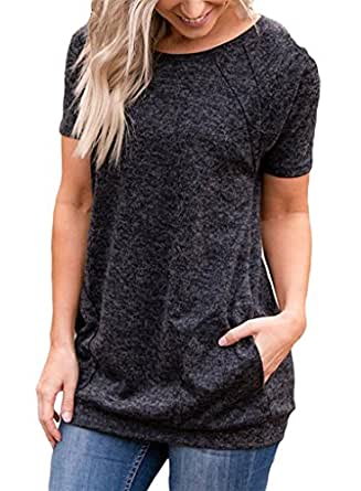 onlypuff Women Casual Short Sleeve T-Shirts Round Neck Tunic Tops with Pockets Loose Black S