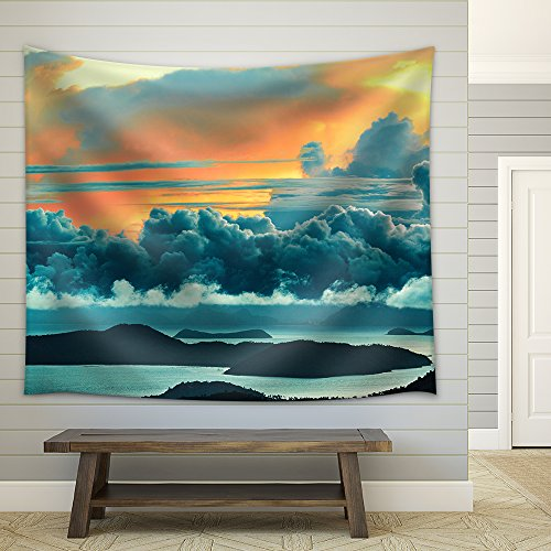 Paradise Sunset Tapestry - wall26 - Nature Landscape. Scenic View Of Paradise Island During Sunset Or Sunrise Over The Sea - Fabric Wall Tapestry Home Decor - 51x60 inches