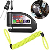 #8: ILamourCar Disc Brake Lock,Alarm Disc Lock,Motorcycle Bike Anti-theft&Waterproof Brake Disc Wheel Alarm Security Lock,110dB Alarm Sound and 6mm Pin with 1.3m Reminder Cable for Motorcycles - Black