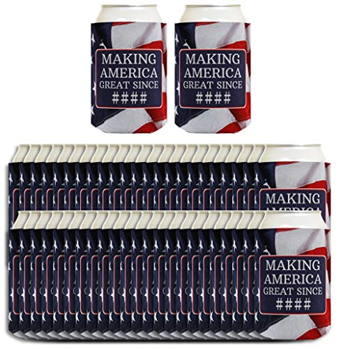 Custom Birthday Can Coolies Making America Great Since Your Birth Year American Flag Custom Birthday Gift Personalized Birthday Gag Gift 96 Pack Can Coolie Drink Coolers Coolies USA Flag]()