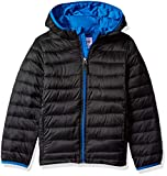 Amazon Essentials Big Boys' Lightweight Water-Resistant Packable Hooded Puffer Jacket, Black with Royal Blue, X-Large