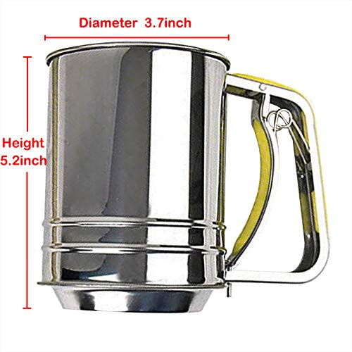Hand-held Stainless Steel Flour Sifter with Silicone Handle Fine Mesh Sieve for Baking (3 Cup) by Baskchurui (Image #7)