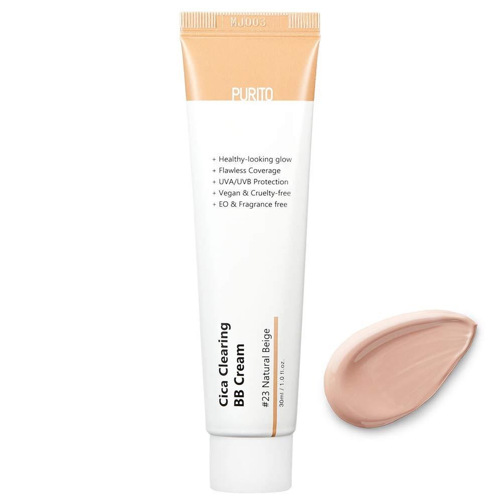 PURITO Cica Clearing BB Cream #23 Natural Beige 1 fl.oz / 30ml, Vegan bb cream, foundation, cruelty free