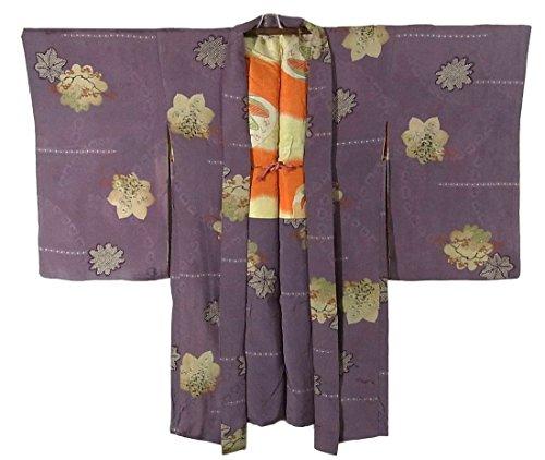 アンティーク 羽織 楓や菊の花 正絹 裄60.5cm 身丈95cm