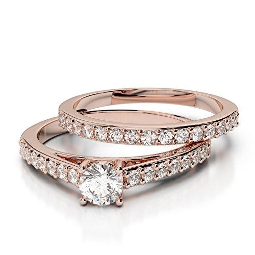 Or Rose 18carats 1CT G-H/VS sertie de diamants Coupe ronde de mariage Bague de fiançailles et ensemble de Agdr-2041