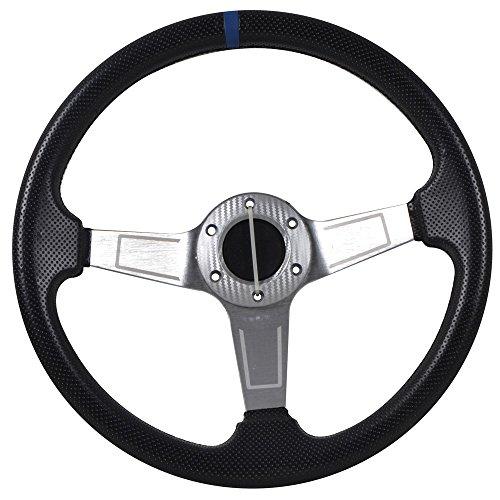 Universal Fitment 350MM PVC 6 Hole Steering Wheel Deep Dish Silver Spoke Blue Ring & Black Emblem by IKON MOTORSPORTS
