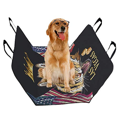 VNASKL Dog Seat Cover Custom Embroidery Tiger Head Rippled American Flag Printing Car Seat Covers for Dogs 100% Waterproof Nonslip Durable Soft Pet Car Seat Dog Car Hammock for Cars Trucks SUV