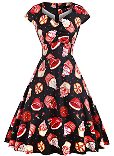 MERRYA Women's Rockabilly Cupcake Pattern Cap Sleeve Casual Party Cocktail Dress (3XL, Black) (Food Cocktail Party Christmas)