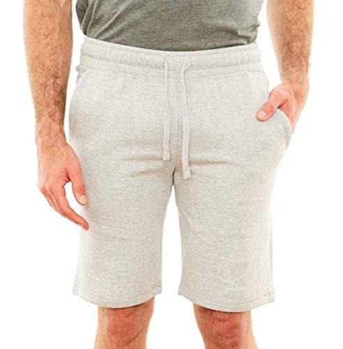 Republic Blue Men's Casual Cotton Elastic Active Jogger Gym Shorts with Pockets - Grey Melange, Large