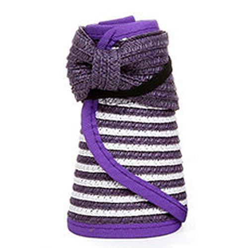 数学的な自分のいつも夏のハットフロッピー女の子のためのトップレスストロー日帽子余暇美しい紫