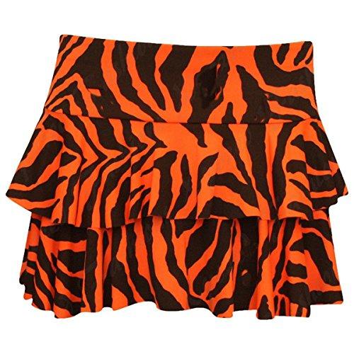 GirlzWalk - Falda - para mujer Fluorescent Orange Zebra Print