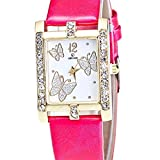 Fashion Clearance Watch! Noopvan Butterfly Watches for Women,Crystal Analog Lady Watches Female Watches on Sale Wrist Watches for Women Rectangle Leather Watch-A136 (Hot Pink)