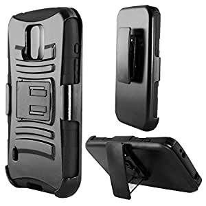 Black Armor Style Hard Soft Gel Dual Layer Case Samsung Galaxy S5 Active