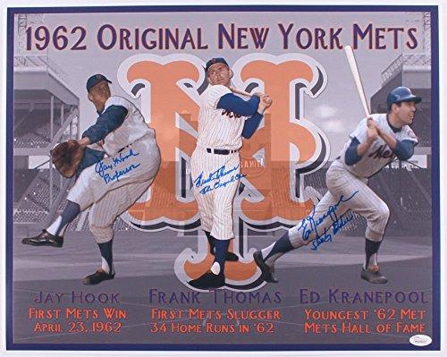 1962 New York Mets Autographed 16x20 Photo (JSA COA) - Jay Hook, Frank Thomas, Ed Kranepool