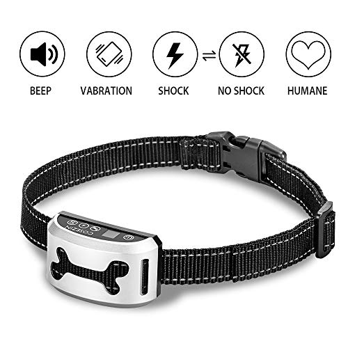 Bark Collar for Small Large Medium Dog COSEZIN Humane No Bark Dog Training Collar with Beep Vibration Harmless Shock 3 Modes, Waterproof, Rechargeable, Anti Bark Device 2018 New