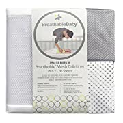 BreathableBaby | Classic Crib Bedding Set | Award Winning, Patented Design | Helps Prevent Arms & Legs from Getting Stuck Between Crib Slats |Independently Tested for Safety |3 Piece | White w/Gray
