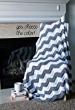 Chevron Afghan Throw Blanket Crochet - Light Grey and White Chevron Afghan Striped Ripple Zig Zag - Made To Order