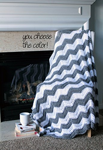 Chevron Afghan Throw Blanket Crochet - Light Grey and White Chevron Afghan Striped Ripple Zig Zag - Made To Order by Allie's Handmade Blankets