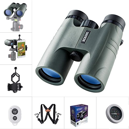 BEBANG Binoculars for Adults Compact, 10X42 HD Professional, BAK4 Prism FMC Lens, Suitable for Bird Watching, for Hunting, With a Smartphone Adapter, Tripod Mounting Adapter, Harness Strap, etc by BEBANG