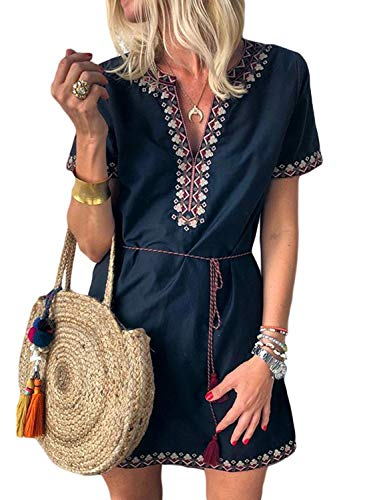 - Dokotoo Womens V Neck Ladies Embroidered Summer Short Sleeve Loose 2019 Tunics Mini Casual Solid Holiday Dresses Navy Small
