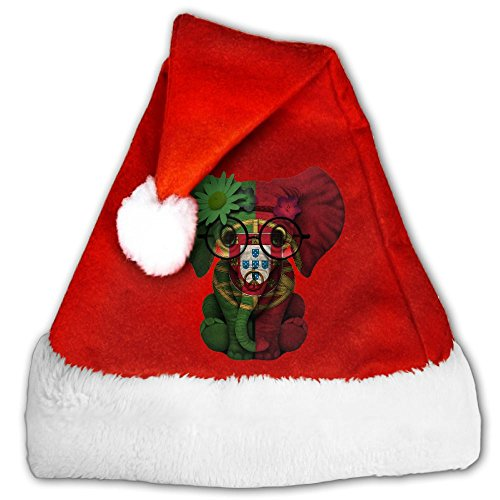 Woodstock Themed Costumes (Portugal Flag Christmas Hats Velvet Shiny Novelty Santa Claus Hats Christmas Costume Headwear Party Supplies For Kids And Adults)