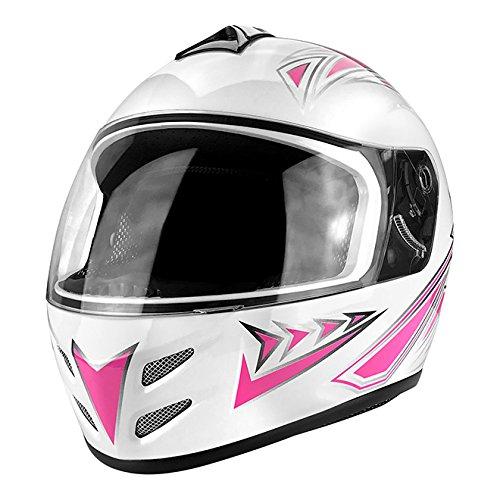 Full Face Motorcycle DOT Approved Helmet Gloss White & Pink ()