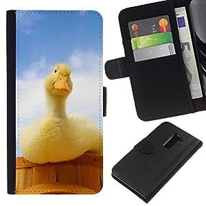 YiPhone /// Tirón de la caja Cartera de cuero con ranuras para tarjetas - Pato curioso - LG G2 D800