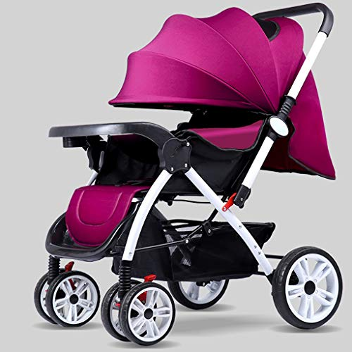 TXTC Multifunctional Pushchair,Compact Convertible Luxury Strollers, Baby Stroller,Portable Pram Carriage ,5-Point Harness and High Capacity Basket (Color : Purple)