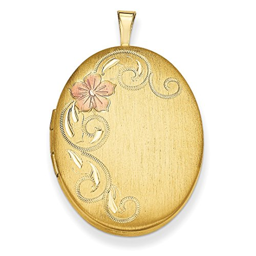 ICE CARATS 925 Sterling Silver Gold Plated 26mm Enameled Floral Photo Pendant Charm Locket Chain Necklace That Holds Pictures Oval Fine Jewelry Gift Set For Women Heart (Gold Plated Oval Locket)