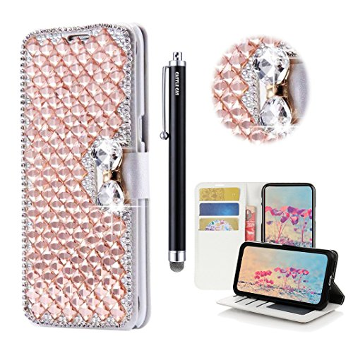 LG Stylo 3 Bling Wallet Case - Castle Cas 3D Handmade Sparkle Crystal Square Lattice Bowknot PU Leather Anti-Scratch Card Slots Bumper Design Cover Case - (Card Lattice)