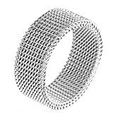 Adisaer Rings for Women Doctor Who Stainless Steel Reto Vintage Rings6MM Weave Net Silver Biker Ring Size 8