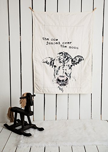 The cow jumped over the moon - Linen Crib Quilt Baby Bedding - 36x45 by The Barn Social