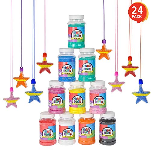 ArtCreativity Craft Sand Super Pack (Set of 24) | Includes 12 Big Tubes of Colorful Sand & 12 Star Shaped Necklaces | Fun Party Favor, Prize and Crafts | for ()