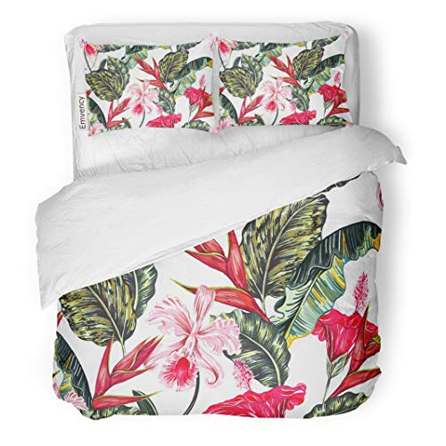 Tarolo Bedding Duvet Cover Set Floral Tropical Pattern Exotic Flowers Palm Leaves Jungle Leaf Hibiscus Orchid Bird of Paradise Botanical 3 Piece King 104