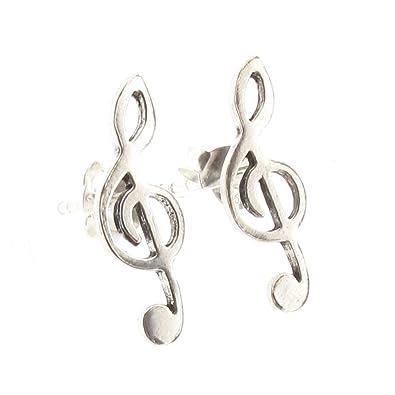 Silver Bass Clef Stud Earrings amVGcs