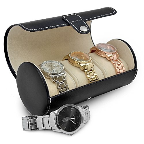 Sorbus® Leatherette Roll-Style Travel Watch Organizer - Storage Case Holds up to 3 Watches (Watch And Roll Case)