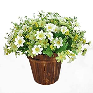 MARJON Flowers1 Bouquet 28 Heads Artificial Fake Daisy Flower Indoor Outside Hanging Planter Home Wedding Garden Cemetery Decor (White) 49