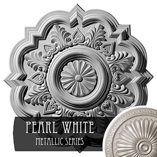 Ceiling Pearl Medallion - Ekena Millwork CM20DRPWS Deria Ceiling Medallion, Pearl White